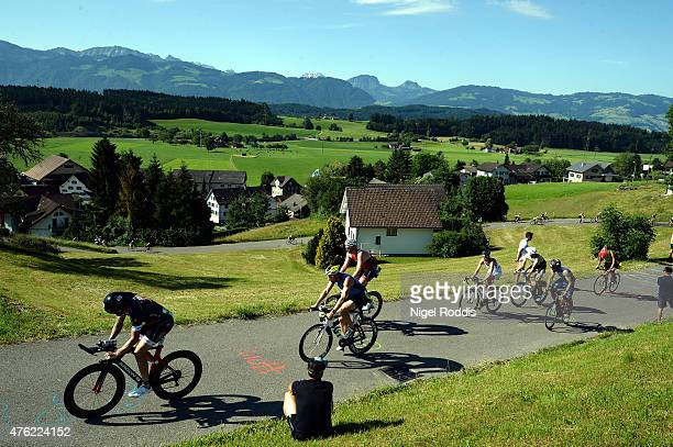 Athletes compete during the bike section of Ironman 703 RapperswilJona on June 7 2015 in Rapperswil Switzerland