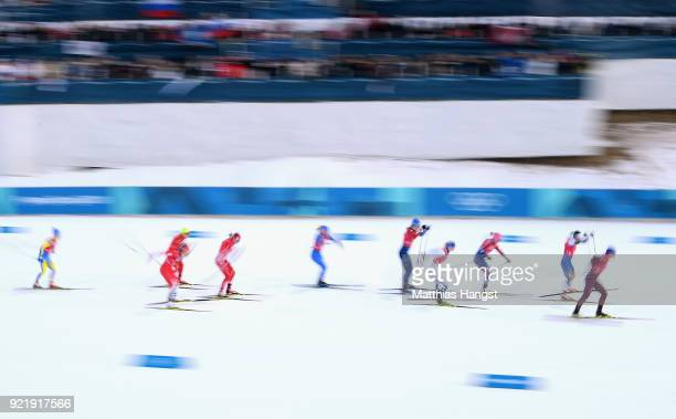 Athletes compete during the Cross Country Ladies' Team Sprint Free semi final on day 12 of the PyeongChang 2018 Winter Olympic Games at Alpensia...