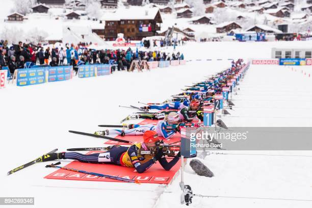 Athletes compete during the IBU Biathlon World Cup Women's Mass Start on December 17, 2017 in Le Grand Bornand, France.