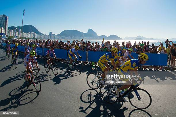Athletes compete during the International Road Cycling Challenge test event ahead of the Rio 2016 Olympic Games at Copacabana Beach on August 16 2015...