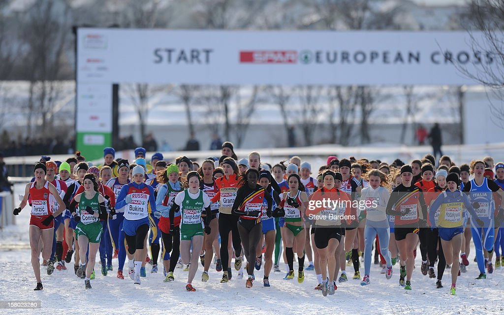 Athletes compete during the Junior Women's race during the 19th SPAR European Cross Country Championships on December 9, 2012 in Budapest, Hungary.