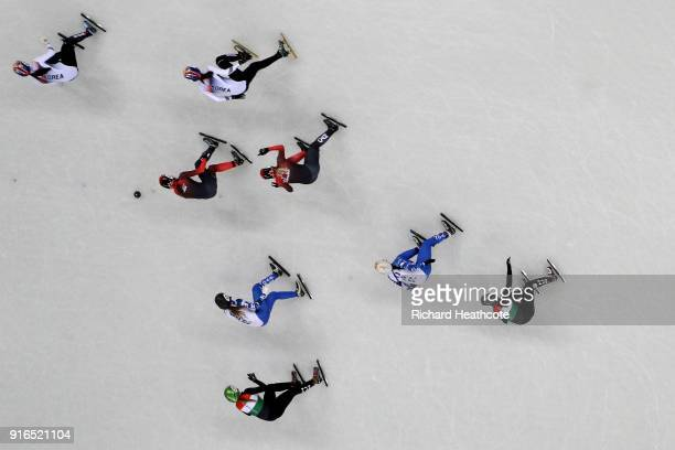 Athletes compete during the Ladies' 3000m relay Short Track Speed Skating qualifying on day one of the PyeongChang 2018 Winter Olympic Games at...