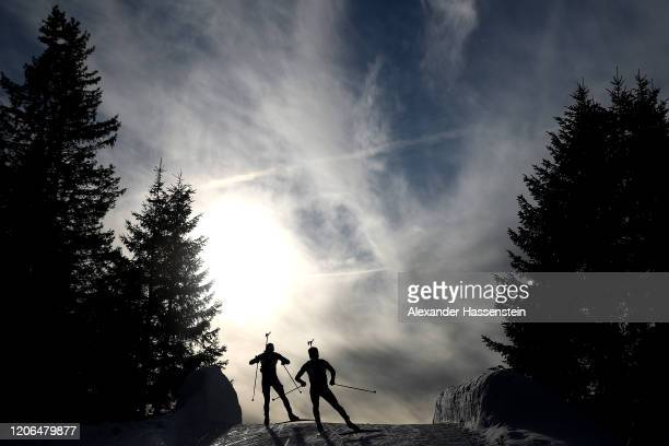 Athletes compete during the Men 10 km Sprint Competition at the IBU World Championships Biathlon AntholzAnterselva on February 15 2020 in...