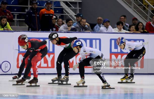Athletes compete during the men 1500 meter final A race of the ISU Short Track World Cup Day 1 at Halyk Arena on December 8 2018 in Almaty Kazakhstan...