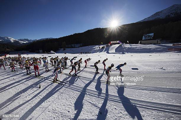 Athletes compete during the men's 10 km C mass start race on January 1 2017 in Val Mustair Switzerland