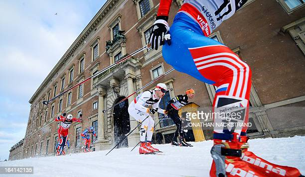 Athletes compete during the Men's 11 kilometer cross country World Cup Royal Palace Sprint on March 20 2013 in Stockholm AFP PHOTO/JONATHAN NACKSTRAND