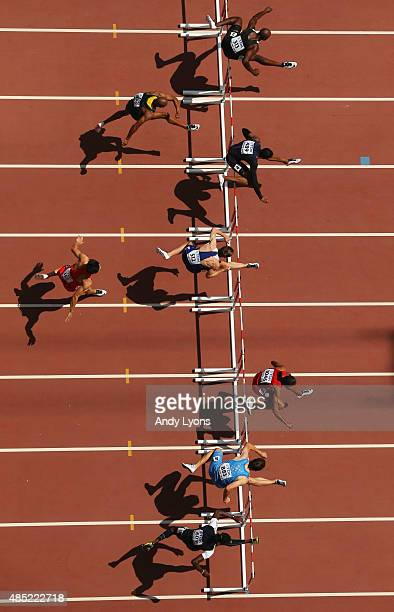 Athletes compete during the Men's 110 metres hurdles heats during day five of the 15th IAAF World Athletics Championships Beijing 2015 at Beijing...