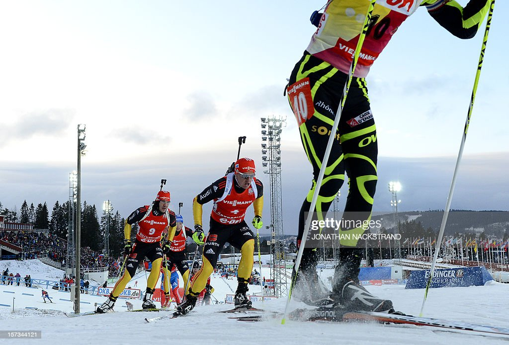 Athletes compete during the men's 12,5km pursuit race of the Biathlon World Cup in Ostersund on December 2, 2012. Martin Fourcade of France won the race ahead of Germany's Andreas Birnbacher (2nd) and Russia's Anton Shipulin (3rd).