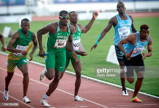 Athletes compete during the Men's 4x400m Final at the 12th edition of the African Games in Rabat on August 30 2019