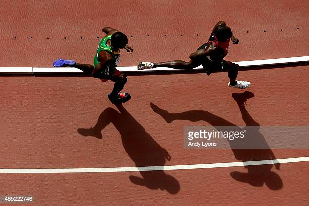 Athletes compete during the Men's 5000 metres heats during day five of the 15th IAAF World Athletics Championships Beijing 2015 at Beijing National...