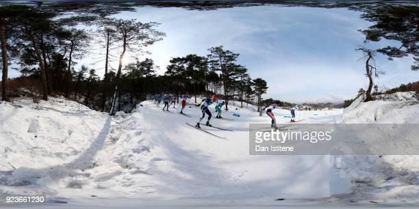 Athletes compete during the Men's 50km Mass Start Classic on day 15 of the PyeongChang 2018 Winter Olympic Games at Alpensia CrossCountry Centre on...
