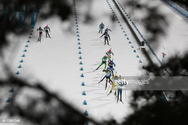 Athletes compete during the Men's Biathlon 125km Pursuit on day three of the PyeongChang 2018 Winter Olympic Games at Alpensia Biathlon Centre on...