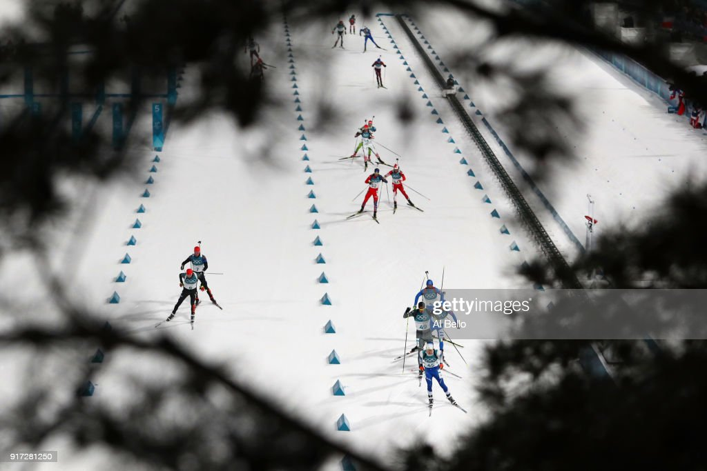 Athletes compete during the Men's Biathlon 12.5km Pursuit on day three of the PyeongChang 2018 Winter Olympic Games at Alpensia Biathlon Centre on February 12, 2018 in Pyeongchang-gun, South Korea.