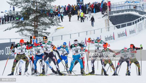 Athletes compete during the men's nordic combined 10 km individual Gundersen event of the 2017 FIS Nordic World Ski Championships in Lahti, Finland,...