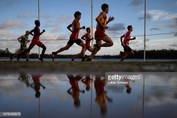Athletes compete during the Men's race of the SPAR European Cross Country Championships on December 9 2018 in Tilburg Netherlands