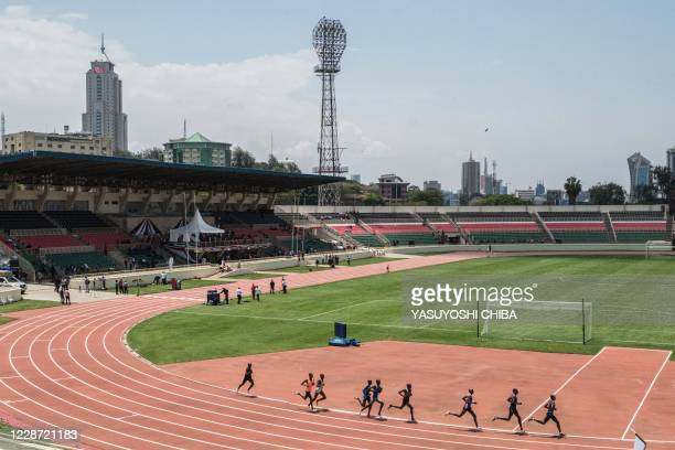 Athletes compete during the official opening of renovated Nyayo National Stadium with 45,000 seat capacity after being closed for 3 years in Nairobi,...