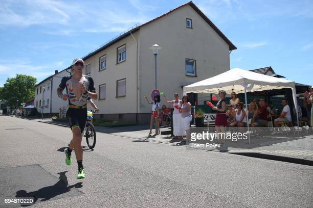 Athletes compete during the run leg of Ironman 703 Kraichgau on June 11 2017 in Kraichgau Germany
