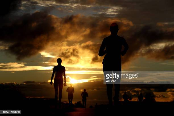 Athletes compete during the run portion of the IRONMAN World Championships brought to you by Amazon on October 13 2018 in Kailua Kona Hawaii