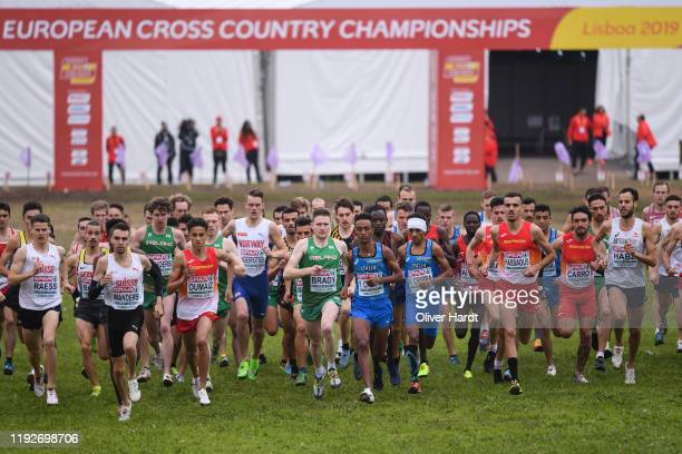Athletes compete during the Senior Men final race of the SPAR European Cross Country Championships at the Parque da Bela Vista on December 08 2019 in...