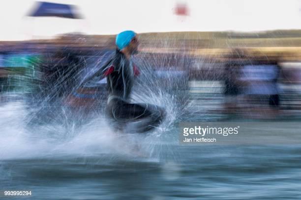Athletes compete during the swim leg at the Mainova IRONMAN European Championship on July 8 2018 in Frankfurt am Main Germany