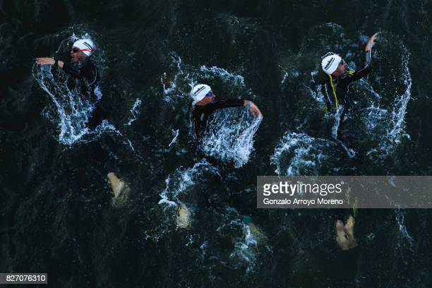 Athletes compete during the swimming course of Ironman MaastrichtLimburg on August 6 2017 in Maastricht Netherlands