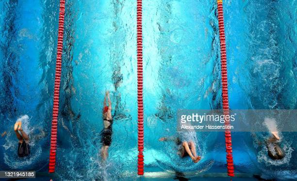 Athletes compete during the Swimming in the Women's Modern Pentathlon Open German Championships during the Finals 2021 at Olympiapark on June 05,...