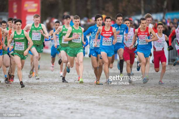 Athletes compete during the U20 Men's race of the SPAR European Cross Country Championships on December 9 2018 in Tilburg Netherlands