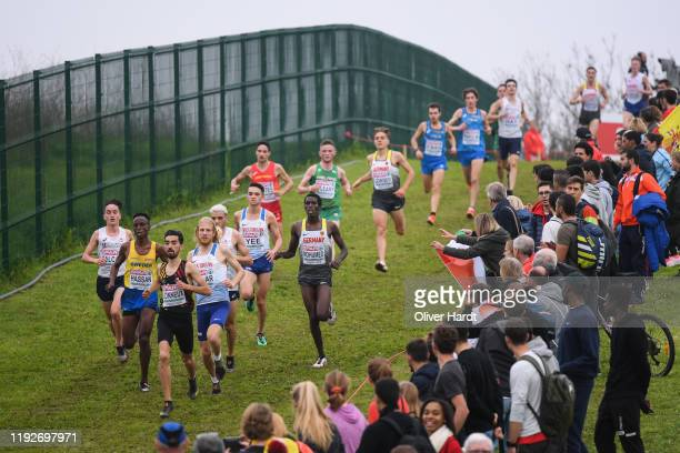 Athletes compete during the U23 Men's final race of the SPAR European Cross Country Championships at the Parque da Bela Vista on December 08 2019 in...