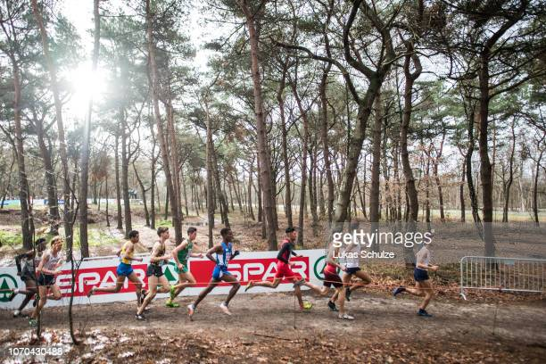 Athletes compete during the U23 Men's race of the SPAR European Cross Country Championships on December 9 2018 in Tilburg Netherlands
