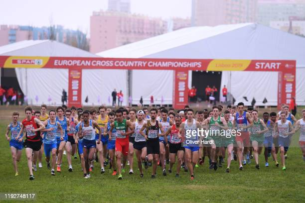 Athletes compete during the U23 Men's race of the SPAR European Cross Country Championships at the Parque da Bela Vista on December 08 2019 in Lisbon...