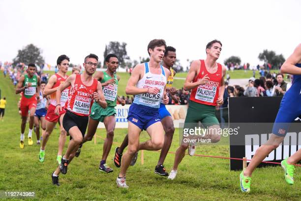 Athletes compete during the U2O Men's race of the SPAR European Cross Country Championships at the Parque da Bela Vista on December 08 2019 in Lisbon...