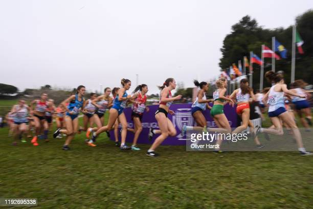 Athletes compete during the U2O Women final race of the SPAR European Cross Country Championships at the Parque da Bela Vista on December 08 2019 in...