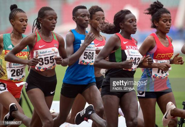 Athletes compete during the Women's 10000m Final at the 12th edition of the African Games in Rabat on August 29 2019