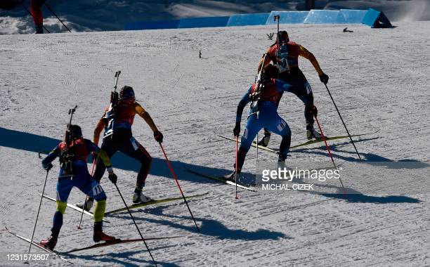 Athletes compete during the women's 10km pursuit competition of the IBU Biathlon World Cup in Nove Mesto, Czech Republic, on March 7, 2021.