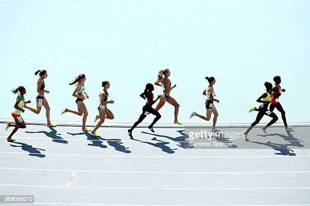 Athletes compete during the Women's 3000m Steeplechase Round 1 on Day 8 of the Rio 2016 Olympic Games at the Olympic Stadium on August 13, 2016 in...