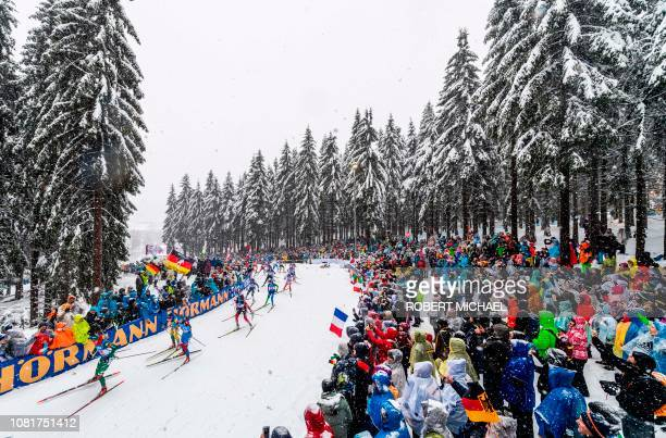 Athletes compete during the women's 4x6 km relay event of the IBU Biathlon World Cup in Oberhof eastern Germany on January 13 2019
