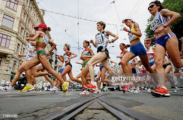 Athletes compete during the Women's Marathon on day six of the 19th European Athletics Championships at the Ullevi Stadium on August 12 2006 in...
