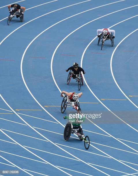 Athletes compete in 400m Wheelchair Women's final race during the 9th Fazza International IPC Athletics Grand Prix Competition World Para Athletics...
