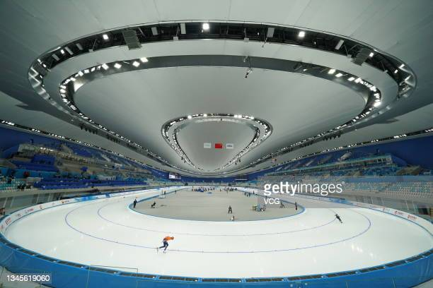Athletes compete in a match on day one of the Speed Skating China Open, a test event of the 2022 Beijing Winter Olympic Games, at the National Speed...