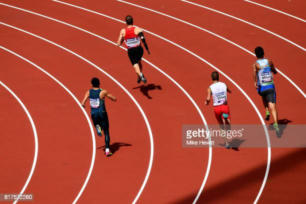 Athletes compete in Heat 1 of the Men's 400m T47 during day five of the IPC World ParaAthletics Championships 2017 at the London Stadium on July 18,...