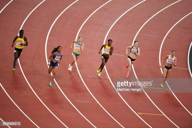 Athletes compete in heat 5 of the womens 800m during day seven of the 16th IAAF World Athletics Championships London 2017 at The London Stadium on...