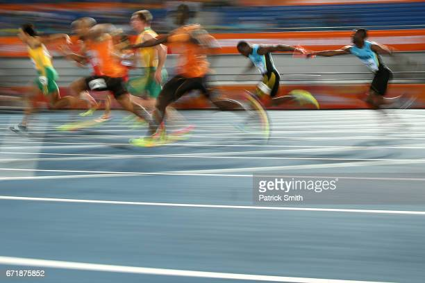 Athletes compete in heat one of the Men's 4 x 100 Meters Relay during the IAAF/BTC World Relays Bahamas 2017 at Thomas Robinson Stadium on April 22...