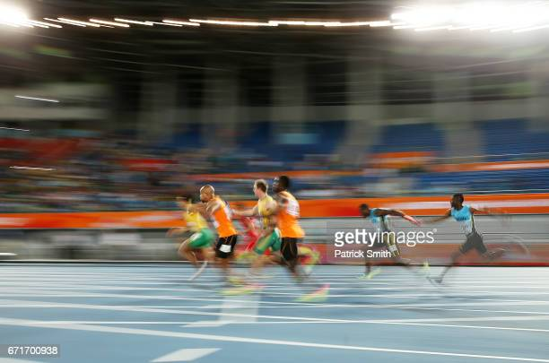 Athletes compete in het one of the Men's 4 x 100 Meters Relay during the IAAF/BTC World Relays Bahamas 2017 at Thomas Robinson Stadium on April 22...
