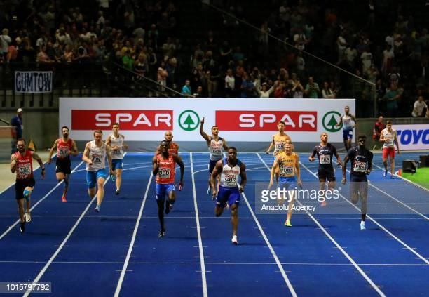Athletes compete in men's 4x100m relay final during the 2018 European Athletics Championships in Berlin Germany on August 12 2018