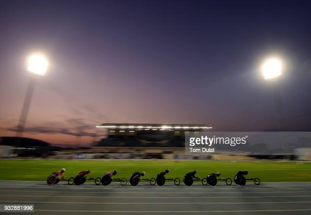 Athletes compete in men's 5000 meters wheelchair final during 10th Fazza International IPC Athletics Grand Prix Competition World Para Athletics...