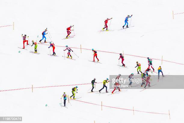 Athletes compete in Men's Individual in Ski Mountaineering during day 1 of the Lausanne 2020 Winter Youth Olympics on January 10 in...