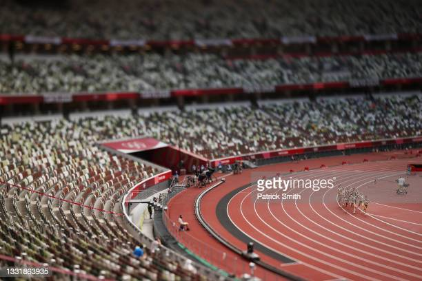 Athletes compete in round one of the Women's 1500m heats on day ten of the Tokyo 2020 Olympic Games at Olympic Stadium on August 02, 2021 in Tokyo,...