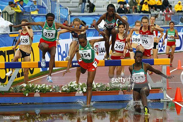 Athletes compete in the 3000 Metres Steeplechase final on Day 4 of the 13th IAAF World Junior Athletics Championships at the Stade Moncton 2010...