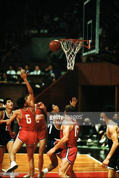 Athletes compete in the Basketball Group A match between Japan and Canada during the Tokyo Olympic at Yoyogi Gymnasium on October 13 1964 in Tokyo...
