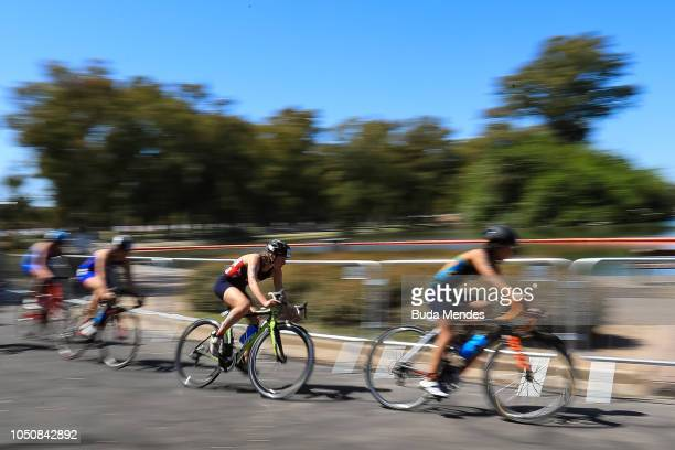 Athletes compete in the bike event competes during the Womens Triathlon at Green Park on October 07 2018 in Buenos Aires Argentina